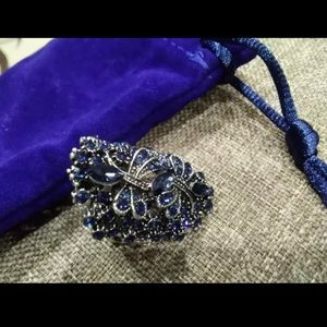 Vintage Big Hollow Blue Rhinestone Ring
